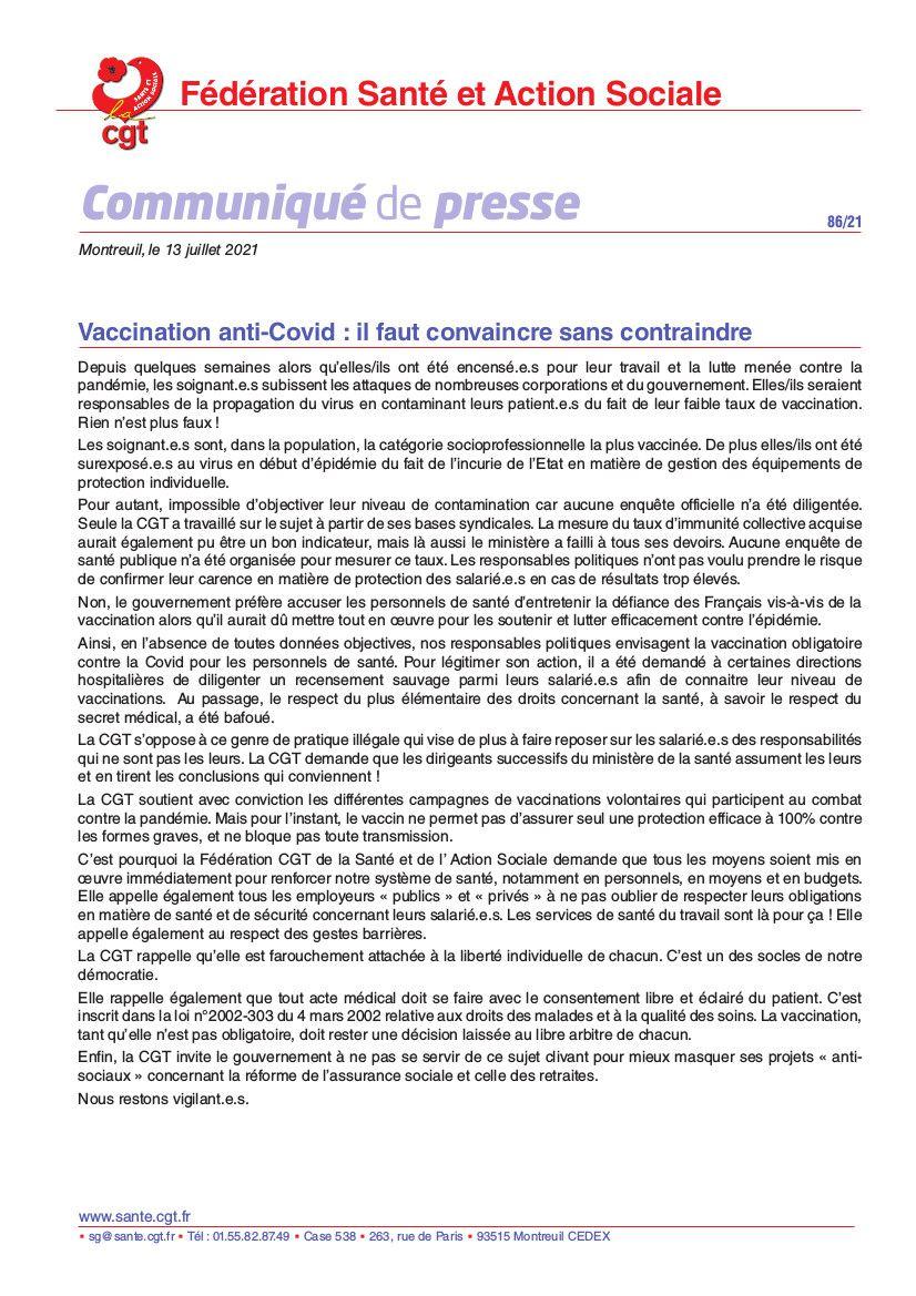 Vaccination anti-Covid : il faut convaincre sans contraindre et revlariser !!
