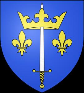 """Armes de la famille d'Arc octroyées par Charles VII, les plus belles de France:  """"D'azur à deux fleurs de lys d'or et une épée d'argent à la garde dorée, la pointe en haut,  férue en une couronne d'or."""""""