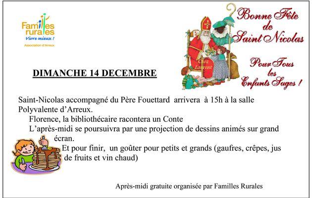 St Nicolas sera à Arreux le Dimanche 14 Décembre 2014 à l'invitation de Familles Rurales