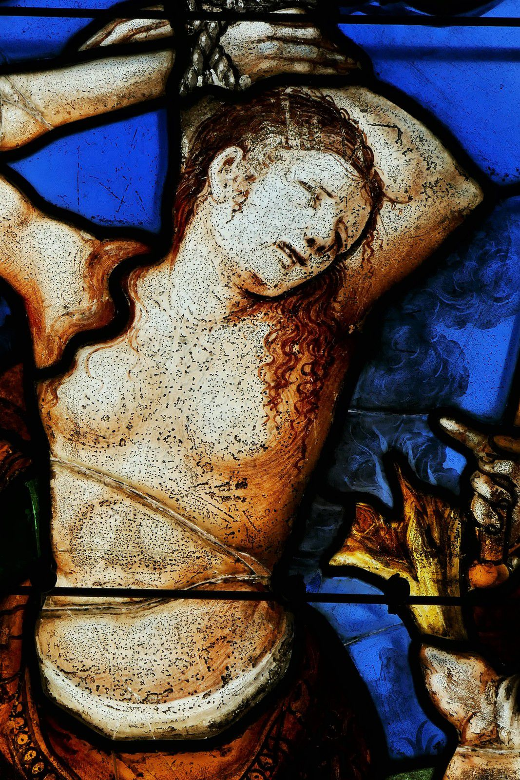 La baie 1 ou Martyre de sainte Barbe (v. 1540, Gilles de la Croix Vallée ?) de l'ancienne collégiale de Champeaux. Photographie lavieb-aile août 2020.