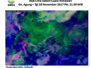 Agung - directions of plume and ash cloud on 28.11 at 21h loc and 29.11 at 11h loc. - a click to enlarge - images Himawari 8