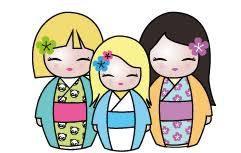 Kokeshis trio grille 2 Yuzu sur la toile