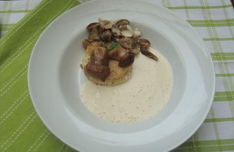 Risotto croustillant au cantal & crème de champignons