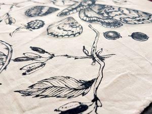Papillons : Illustrations à l'encre sur textile + prints A4 sur papiers d'art.