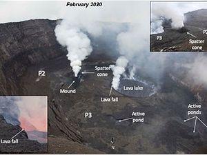 Nyiragongo - le lac de lave en février 2020 et les fluctuations de niveau - Doc. AAAScience - un clic pour agrandir