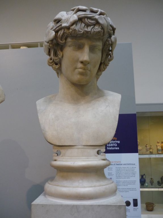 Marble bust of Antinous, AD 130-138, Found in Rome