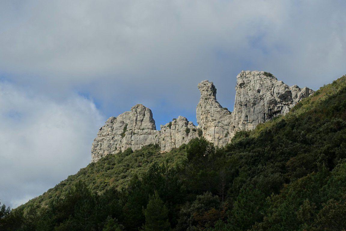 sur le très beau monotrace à flanc entre le col de l'Espigoulier et le col du Cros, vues vers les dents de Roque Forcade et le pic de Bertagne