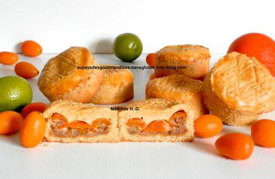 Gâteau Basque Kumquat d'après Cédric Grolet : pâte sablée basque citron vert, crème amande citron vert, kumquats pochés, crème pâtissière à l'orange
