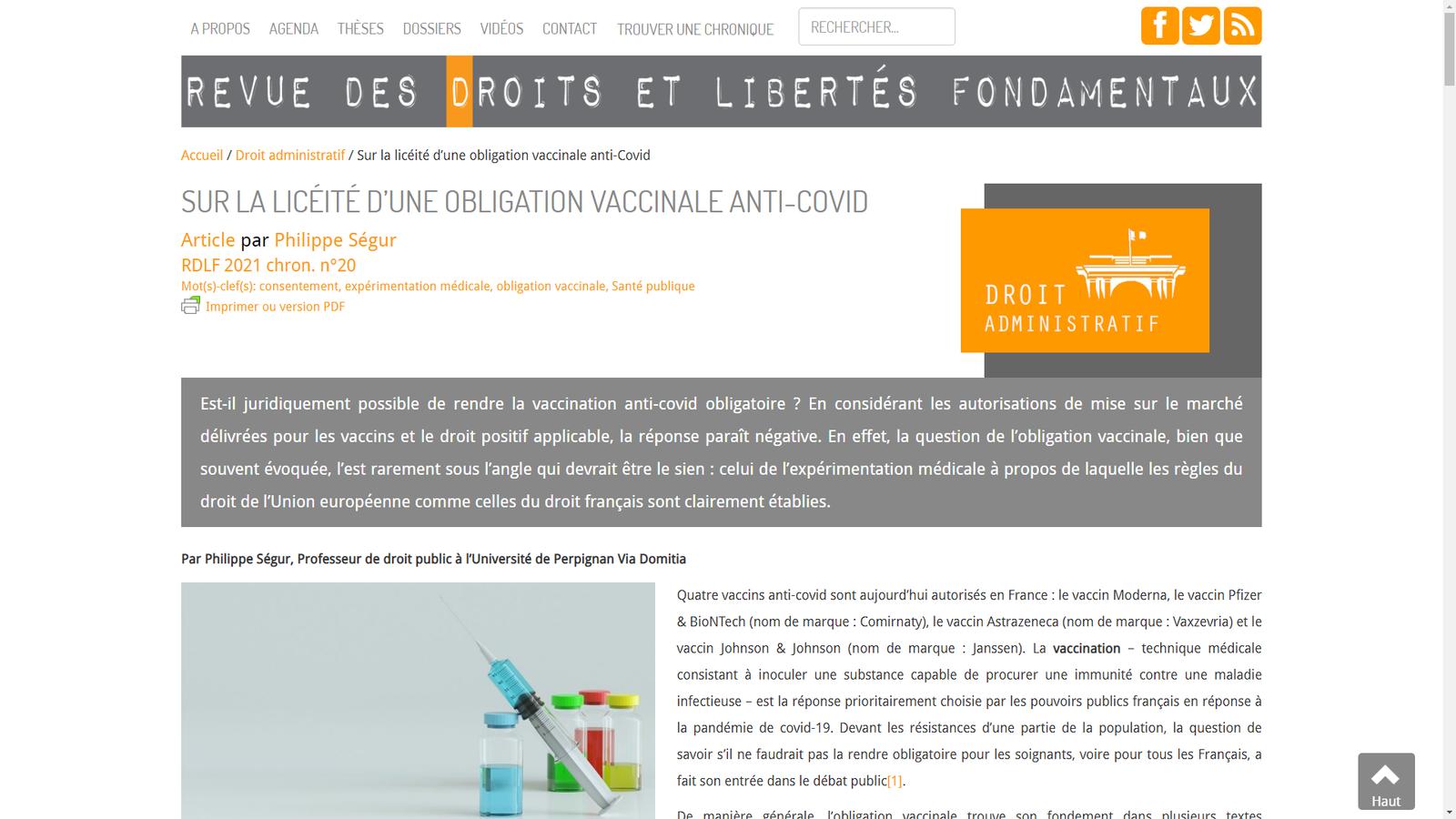 Sur la licéité d'une obligation vaccinale anti-covid
