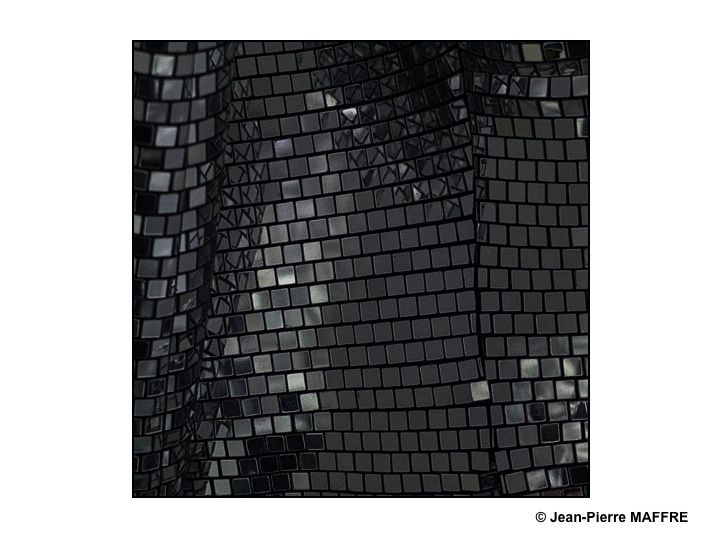 L'impression d'un mélange brillant d'écailles noires et de vagues argentées.