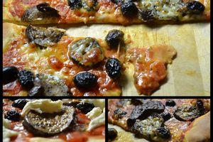 Pizza aux aubergines confites et olives noires