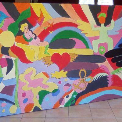 toile pour la paix réalisée devant le théâtre de st jean avec les passants