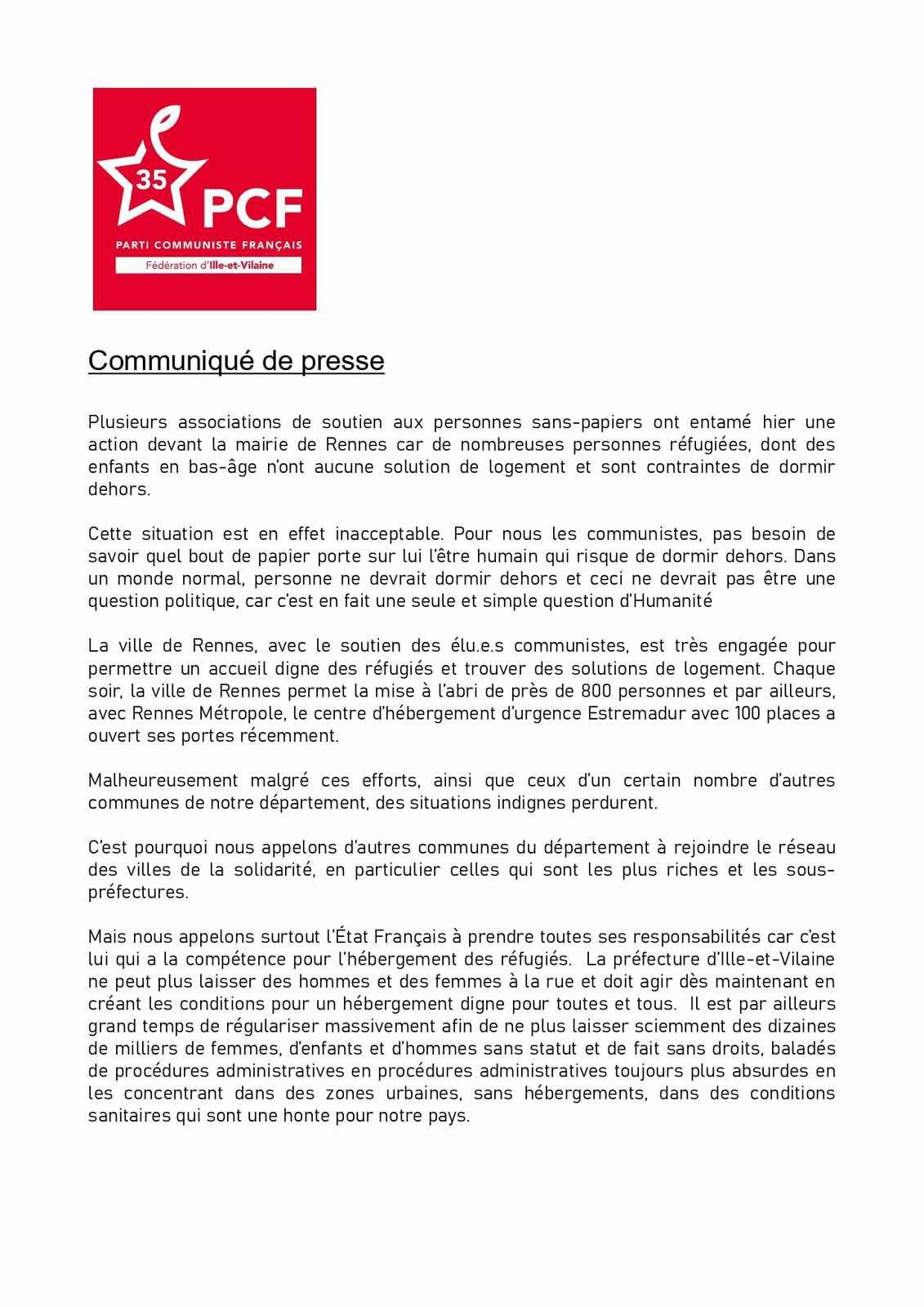 Action des Sans-papiers à Rennes - Communiqué des communistes d'Ille-et-Vilaine