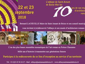 samedi 22 et dimanche 23  grande fête à l'Abbatiale de St Amant de Boixe