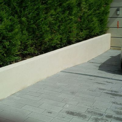 MUR DE SOUTENNEMENT/POSE DE PAVES ANTHRACITE SUR MORTIER