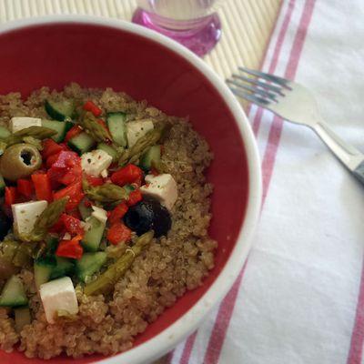 Recette : salade tiède de quinoa méditerranéenne