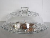 Grande choche en verre moulé ancienne avec son plateau Vintage