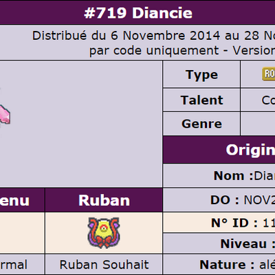 Distribution de Diancie DO : Nov2014 sur le forum