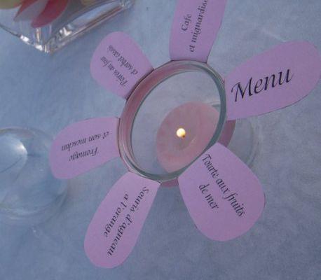 Décoration de table thème Pâques : menu photophore fleur