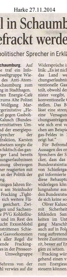 Harke 27.11.14 -- viel Fracking im Schaumburger Land geplant