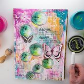 EASY Mixed Media JOURNAL page #12 using Dylusions + Visible Image Stamps