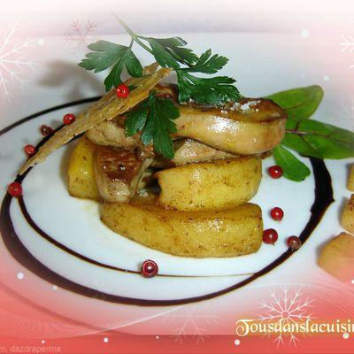 Foie gras poêle aux pommes et Sauterne