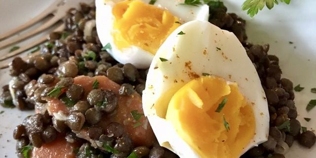 Salade de lentilles au curry et aux oeufs  - IG Bas