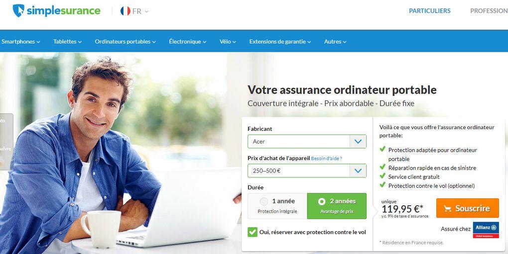 comparatif assurances pour Acer Aspire 5 (liste non exhaustive, tarifs au moment de l'écriture de l'article) @ Tests et Bons Plans