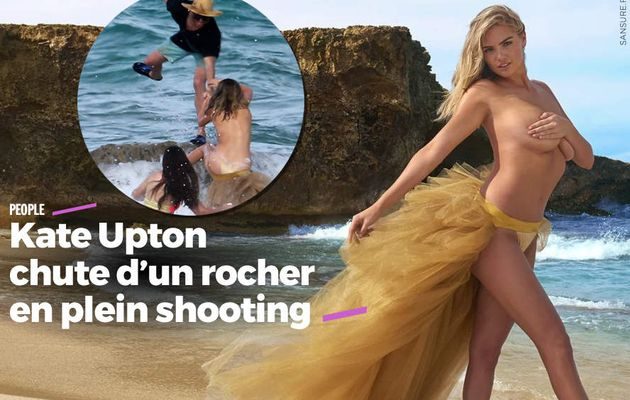 Kate Upton chute d'un rocher en plein shooting #fail