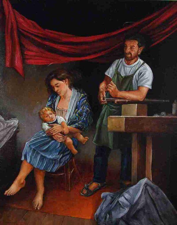 L'atelier de Joseph ou La Sainte Famille Quatre détails Huile sur toile 80x80  2008-2015 Bhavsar