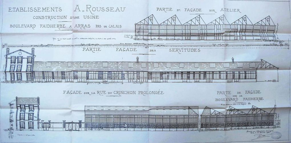 Usine Rousseau, boulevard Faidherbe et rue du Crinchon prolongée (avenue des Droits-de-l'Homme). Gustave Boistel, architecte (Paris), 1922 (non conservé) - Photographie de l'usine Rousseau, sans date, source : fonds photographique de Rose-Marie Normand.