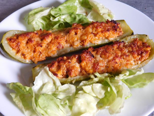 COURGETTES FARCIES TERRE/MER (avec le thermomix)