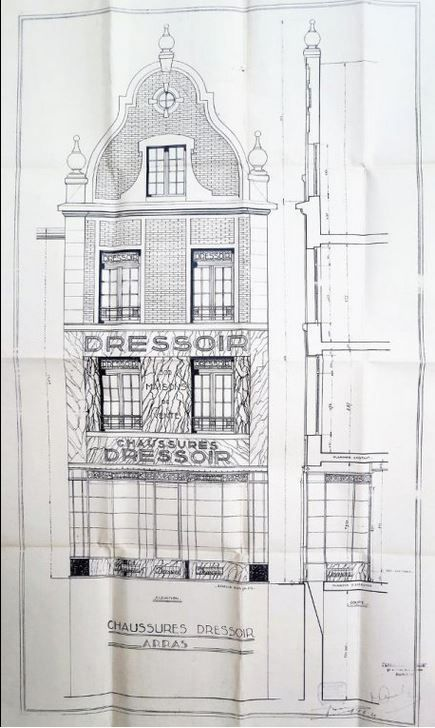 33 rue Ernestale, Chaussures Dressoir. V. Bailly (Paris), architecte, 1926.