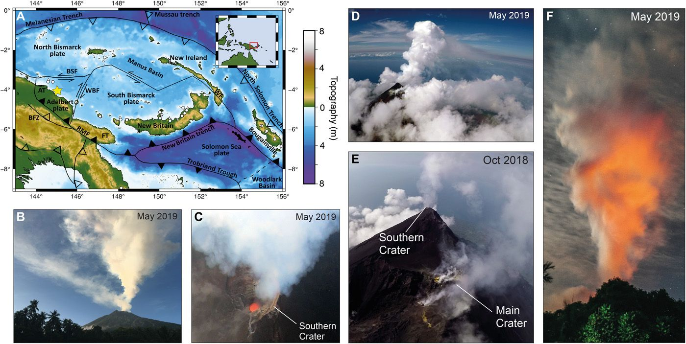 Aerial sightings of Manam, Papua New Guinea. (A) Regional tectonic framework. Manam is located in the volcanic arc of West Bismarck (yellow star). (B) The more energetic, high-altitude plume from the southern crater often dispersed in a different direction than the lower low-level emissions from the main crater. Image taken on May 25, 2019. (C) An image of the nadir acquired during a UAS flyby on May 22, 2019 showed magma to be present at shallow levels in the southern crater. A strong plume emanated from the crater. (D) View of the UAS during the approach to the plume. The floating plume from the south crater rose to about 2-3 km above sea level before dispersing laterally. (E) Aerial view of the summit showing passive degassing