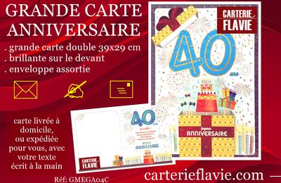 Suggestion de Flavie pour un prochain anniversaire 🙂 avec cette grande carte 40 ans
