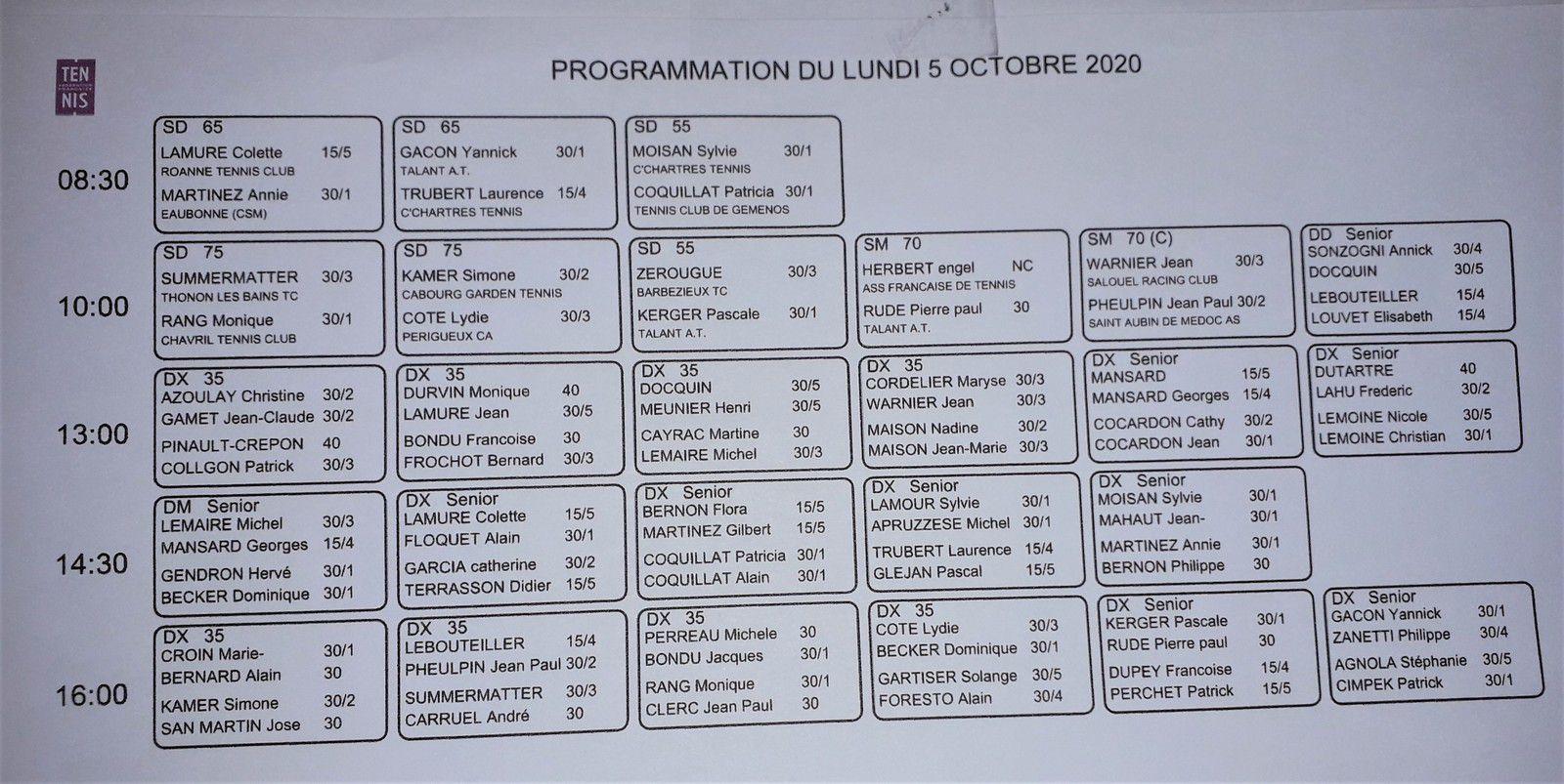 Programmation du lundi 5 octobre