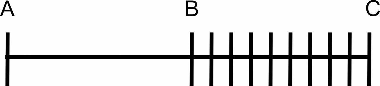 le segment vide suivit du segment de longueur égale hachuré de traits verticaux qui semble grand