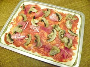 PIZZA CHIFFONNADE ET CHAMPIGNONS (thermomix)