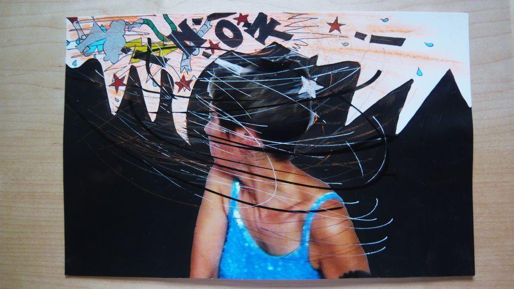 SERIE : Peinture acrylique et techniques mixtes sur photographies couleur...  (450/21 CM)GRRRRMMMFFFFFPFFFFF!!!!