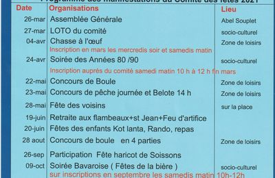 Programme des manifestations pour 2021.