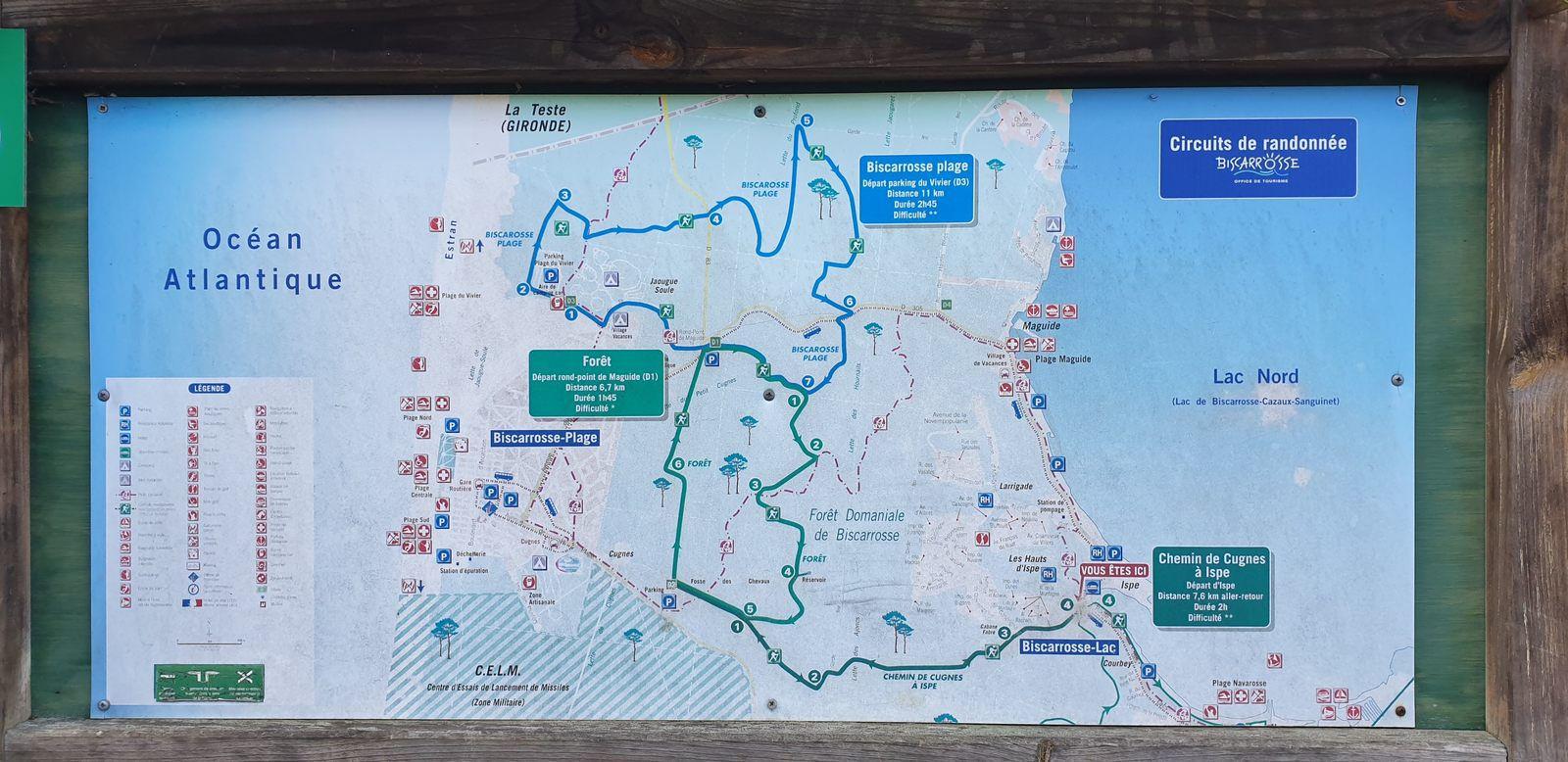 Le plan des circuits de randonnées.