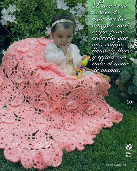 Couverture aux fleurs roses et ses grilles gratuites !