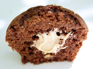 Muffins au chocolat, cœur de noisette