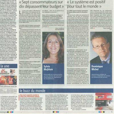 Interview dans le Journal Le soir