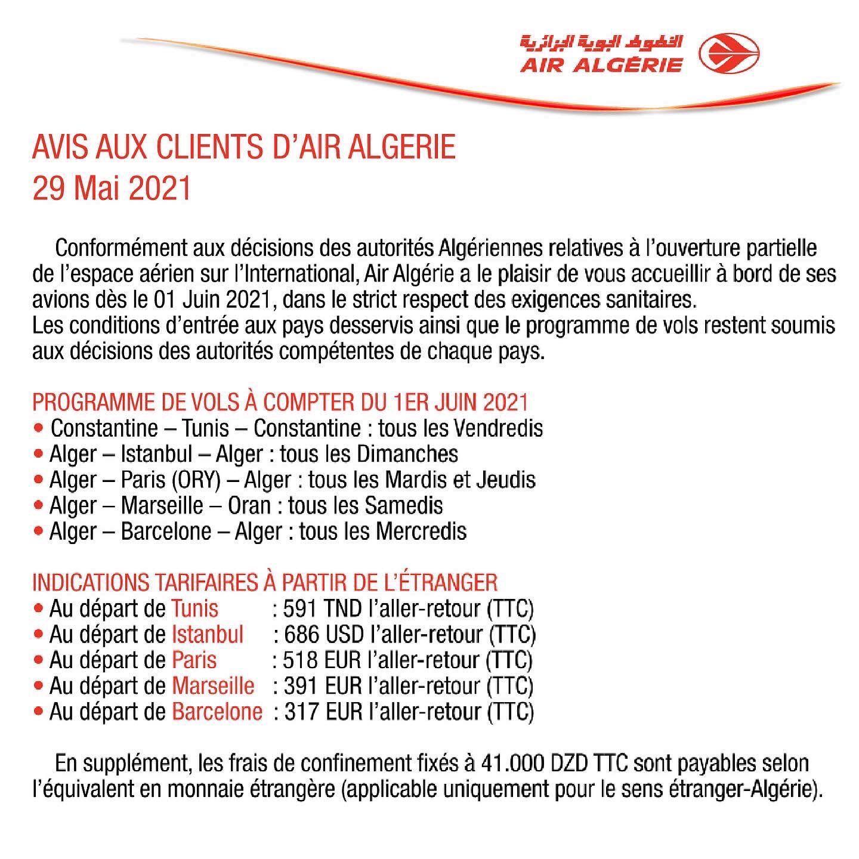 indications tarifaires des vols à partir de l'étranger, à bord d'Air Algérie