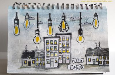 City Lights_Art Journal_Défi#43_Créablablablog