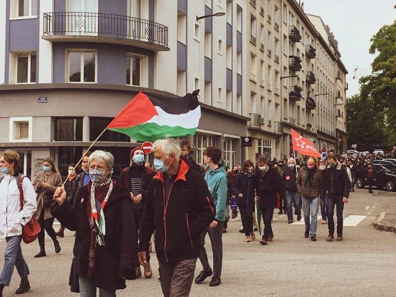 Brest - 15 mai 2021: les communistes au coeur de la manifestation de soutien au peuple palestinien qui a rassemblé plus de 500 personnes