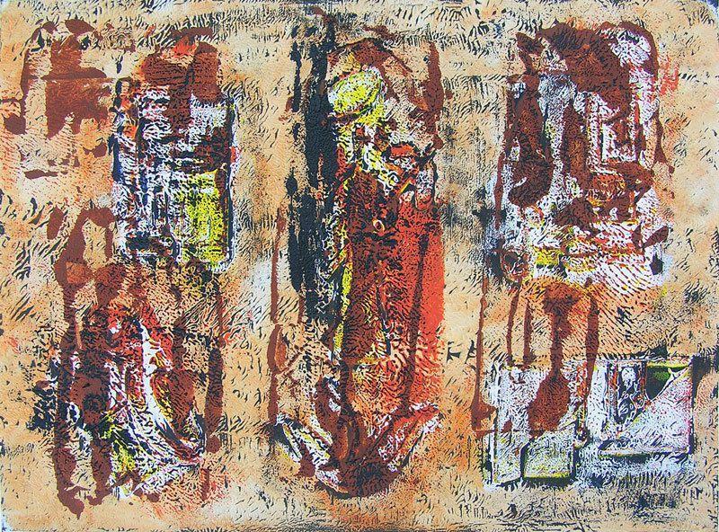 Monotypes et peintures de : Marina Cionna, Martine Rué. (Cliquez pour agrandir)