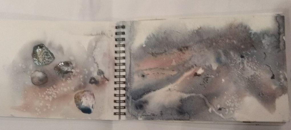 Extraits ... sur carnet Montval A5. le pêcheur et sa femme inspirée d'un tableau en mosaïque de Renée Bodin.