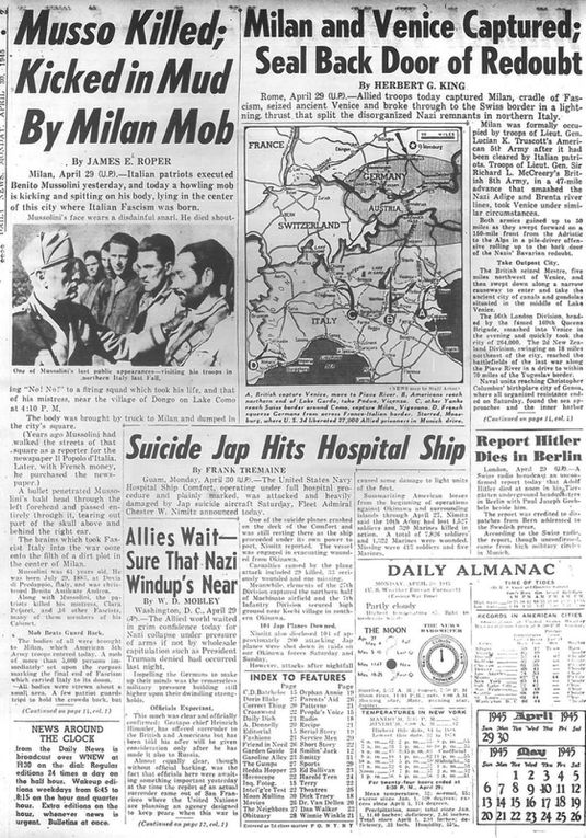 New York Daily News published this on April 30, 1945.